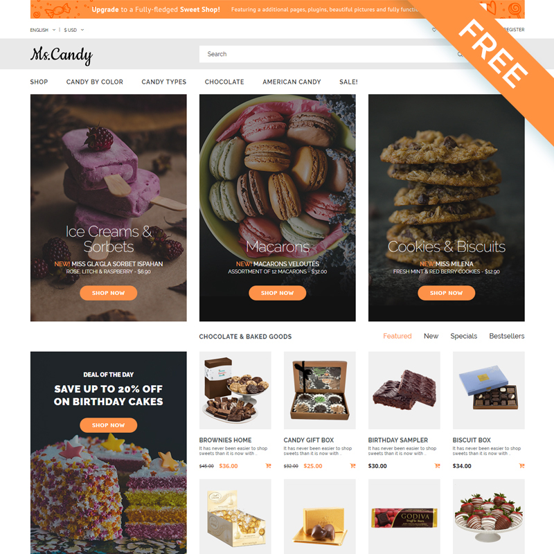 Sweet Shop Modern OpenCart Theme