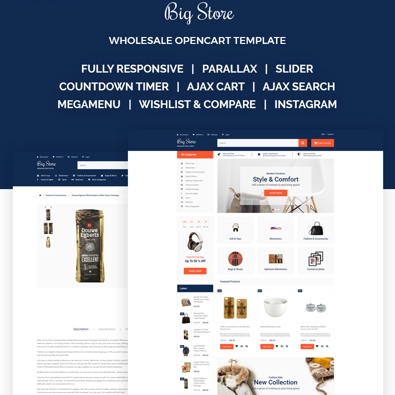 OpenCart шаблон Big Store - Elegant Wholesale Online Shop