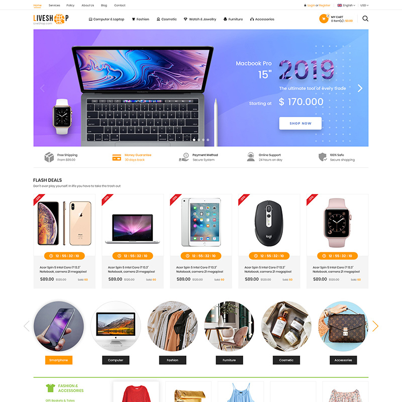 OpenCart шаблон LiveShop Multipurpose